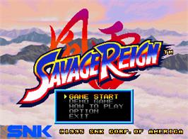 Title screen of Savage Reign on the SNK Neo-Geo AES.