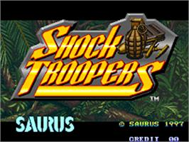 Title screen of Shock Troopers on the SNK Neo-Geo AES.