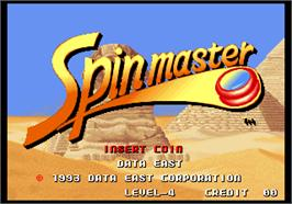 Title screen of Spinmaster on the SNK Neo-Geo AES.