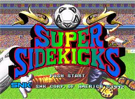 Title screen of Super Sidekicks on the SNK Neo-Geo AES.