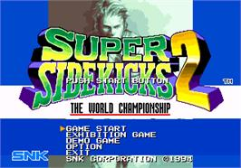 Title screen of Super Sidekicks 2 on the SNK Neo-Geo AES.