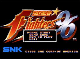 Title screen of The King of Fighters '96 on the SNK Neo-Geo AES.