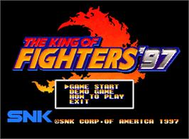 Title screen of The King of Fighters '97 on the SNK Neo-Geo AES.