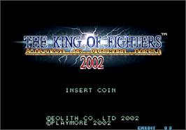 Title screen of The King of Fighters 2002: Challenge to Ultimate Battle on the SNK Neo-Geo AES.