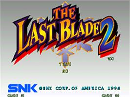 Title screen of The Last Blade 2: Heart of the Samurai on the SNK Neo-Geo AES.