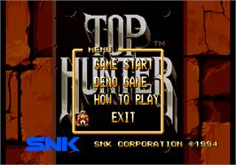 Title screen of Top Hunter: Roddy & Cathy on the SNK Neo-Geo AES.