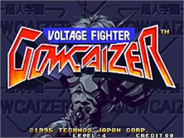 Title screen of Voltage Fighter Gowcaizer on the SNK Neo-Geo AES.