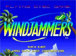 Title screen of Windjammers on the SNK Neo-Geo AES.