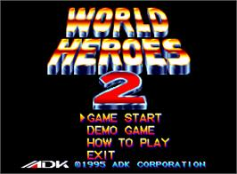 Title screen of World Heroes 2 on the SNK Neo-Geo AES.