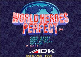 Title screen of World Heroes Perfect on the SNK Neo-Geo AES.