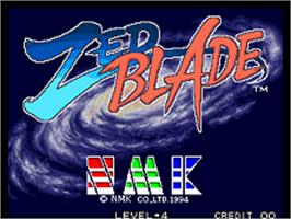 Title screen of Zed Blade on the SNK Neo-Geo AES.