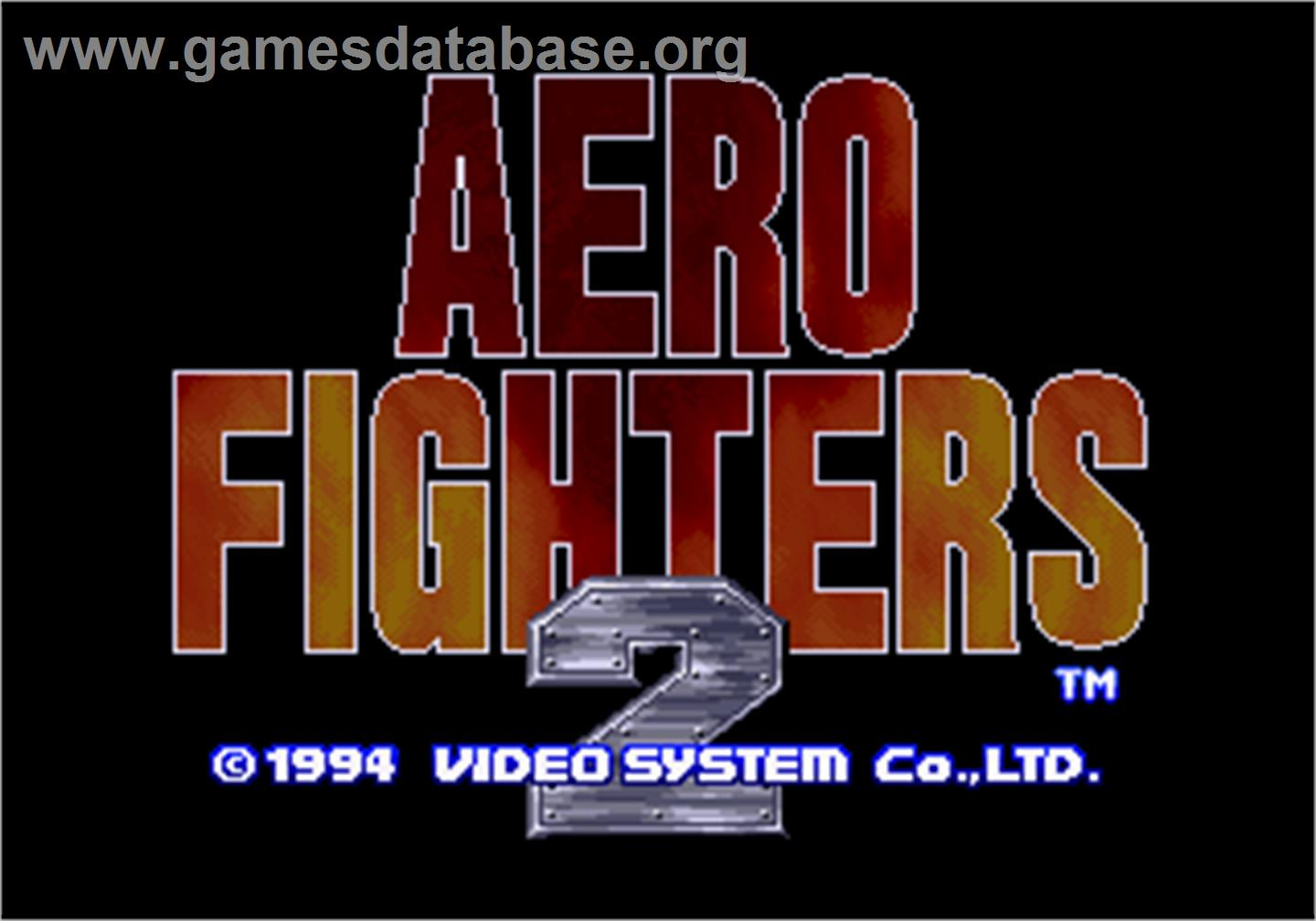 Title screen of Aero Fighters 2 on the SNK Neo-Geo AES.
