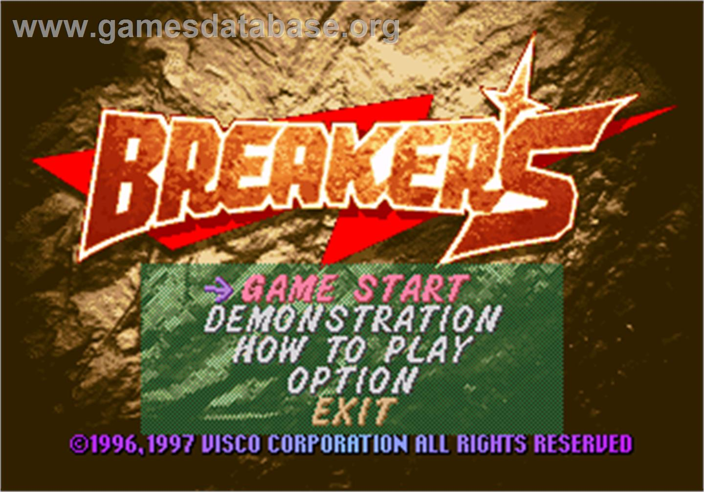Title screen of Breakers on the SNK Neo-Geo AES.