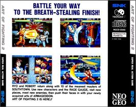 Box back cover for Art of Fighting 2 on the SNK Neo-Geo CD.