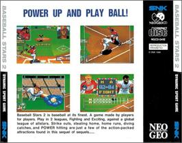 Box back cover for Baseball Stars 2 on the SNK Neo-Geo CD.