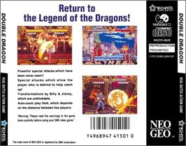 Box back cover for Double Dragon on the SNK Neo-Geo CD.