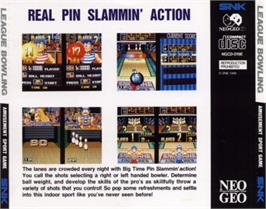 Box back cover for League Bowling on the SNK Neo-Geo CD.