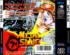 Box back cover for Metal Slug: Super Vehicle-001 on the SNK Neo-Geo CD.