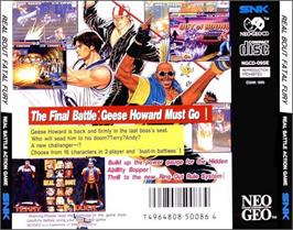 Box back cover for Real Bout Fatal Fury on the SNK Neo-Geo CD.