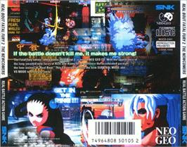 Box back cover for Real Bout Fatal Fury 2: The Newcomers on the SNK Neo-Geo CD.