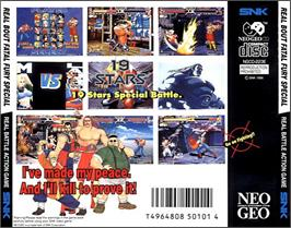 Box back cover for Real Bout Fatal Fury Special on the SNK Neo-Geo CD.