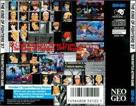 Box back cover for The King of Fighters '97 on the SNK Neo-Geo CD.