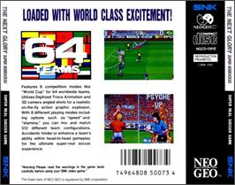Box back cover for The Next Glory: Super Sidekicks 3 on the SNK Neo-Geo CD.