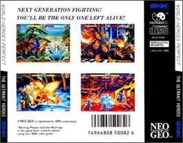 Box back cover for World Heroes on the SNK Neo-Geo CD.