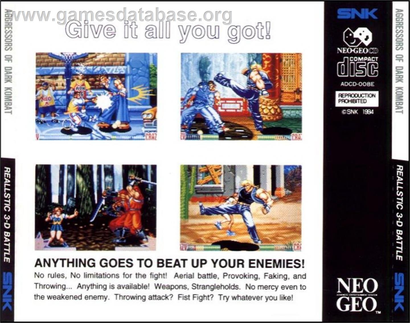 Box back cover for Aggressors of Dark Kombat on the SNK Neo-Geo CD.