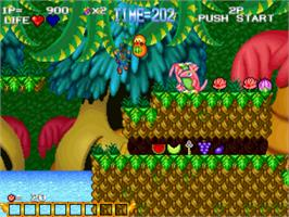 In game image of Blue's Journey on the SNK Neo-Geo CD.