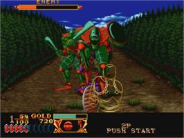 In game image of Crossed Swords on the SNK Neo-Geo CD.