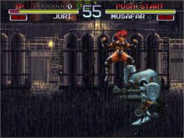 In game image of Galaxy Fight: Universal Warriors on the SNK Neo-Geo CD.