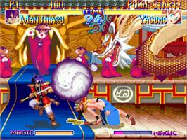 In game image of Kabuki Klash: Far East of Eden on the SNK Neo-Geo CD.