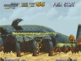 In game image of Metal Slug: Super Vehicle-001 on the SNK Neo-Geo CD.