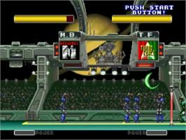 In game image of Power Spikes II on the SNK Neo-Geo CD.