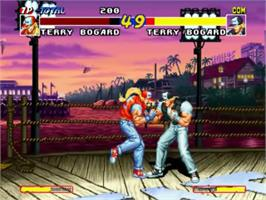 In game image of Real Bout Fatal Fury on the SNK Neo-Geo CD.