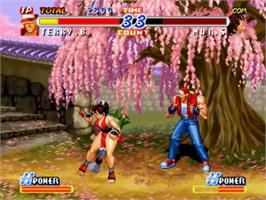 In game image of Real Bout Fatal Fury 2: The Newcomers on the SNK Neo-Geo CD.