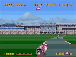 In game image of Riding Hero on the SNK Neo-Geo CD.