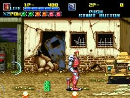 In game image of Robo Army on the SNK Neo-Geo CD.