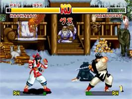 In game image of Samurai Shodown on the SNK Neo-Geo CD.