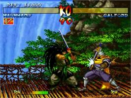 In game image of Samurai Shodown III: Blades of Blood on the SNK Neo-Geo CD.