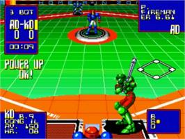 In game image of Super Baseball 2020 on the SNK Neo-Geo CD.