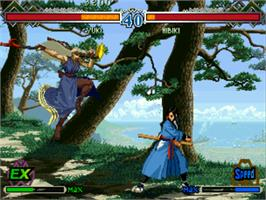 In game image of The Last Blade 2: Heart of the Samurai on the SNK Neo-Geo CD.