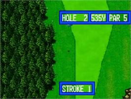 In game image of Top Player's Golf on the SNK Neo-Geo CD.