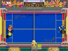 In game image of Windjammers on the SNK Neo-Geo CD.