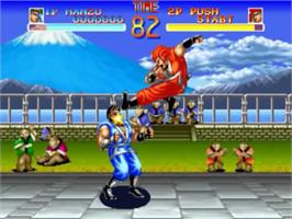 In game image of World Heroes on the SNK Neo-Geo CD.