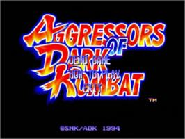 Title screen of Aggressors of Dark Kombat on the SNK Neo-Geo CD.