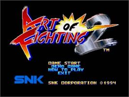 Title screen of Art of Fighting 2 on the SNK Neo-Geo CD.