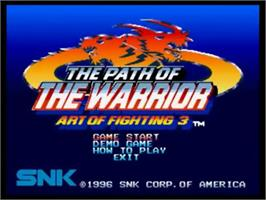 Title screen of Art of Fighting 3: The Path of The Warrior on the SNK Neo-Geo CD.