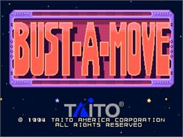 Title screen of Bust-A-Move on the SNK Neo-Geo CD.